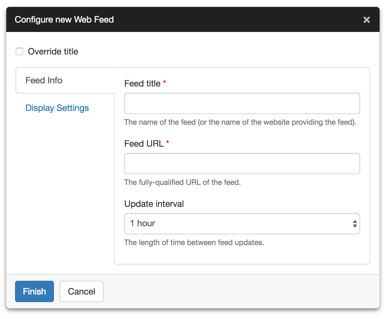 Configure Web Feed Settings